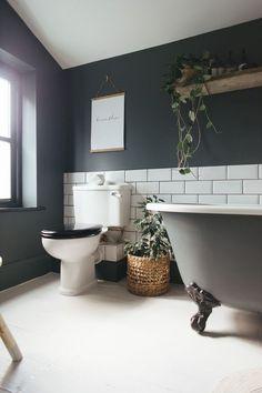 Bathroom Renovation Ideas: bathroom remodel cost, bathroom ideas for small bathrooms, small bathroom design ideas Dark Bathrooms, Amazing Bathrooms, Light Bathroom, Master Bathroom, Bathroom Small, Bathroom Yellow, 1950s Bathroom, Grey Bathroom Paint, Bathrooms Decor