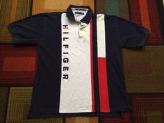 Mens Tommy Hilfiger Spellout Polo Shirt Colorblock XL Red Blue Embroidered Flag #TommyHilfiger #PoloRugby