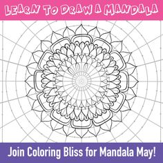 Learn How to Draw a Mandala - At Coloring Bliss, we celebrate Mandala May with artist Jennifer Stay who has created some fun and - Easy Mandala Drawing, Mandala Art Lesson, Mandala Artwork, Simple Mandala, Mandala Dots, Mandala Painting, Mandala Pattern, Zentangle Patterns, Easy Mandala Designs