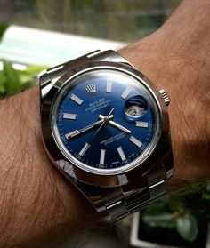 Rolex Datejust II with smooth bezel and blue dial. Stunner