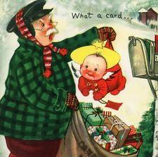 Vintage Christmas Capers Greeting Card Charlot Byj Cherub Mailman EB6016