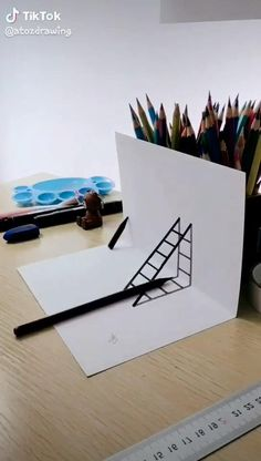 Drawing Ladder A simple demo to show you how to draw a Ladder. If you love our video, please f 3d Art Drawing, Art Drawings Sketches Simple, Art Drawings For Kids, Pencil Art Drawings, Easy Drawings, Illusion Kunst, Illusion Drawings, Illusion Art, Optical Illusions Drawings