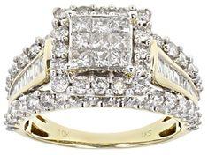 White Diamond 10k Yellow Gold Ring 2.00ctw - RGD022   JTV.com Champagne Diamond Rings, Diamond Rings For Sale, Diamond Gemstone, Diamond Jewelry, Bridal Ring Sets, Brilliant Diamond, Gold Material, Yellow Gold Rings, Quad