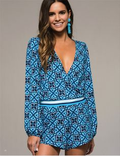 Tilly Long Sleeve Print Romper - Blue + Multi
