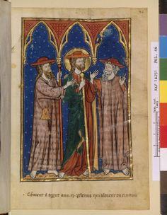 1285-90 Nouvelle acquisition française 16251, fol. 46, Christ et disciples d'Emmaüs