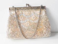 Beaded Evening Bag Vintage Pearl Purse by LittleBitsofGlamour, $45.00