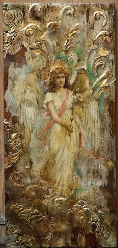 decoupage i jedwabie Ma. Decoupage On Canvas, Altered Canvas, Altered Art, Mixed Media Canvas, Mixed Media Art, Different Kinds Of Art, Angels Among Us, Angel Art, Sculpture