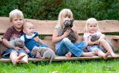 Kids and Puppies - silver labradors puppies from Silverlabs of blue fairytale