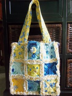 Yellow Blue French Country Cottage Chic by SewTouchingDesigns