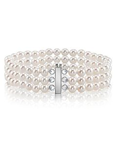 Best Bracelets For Women | 14K Gold 6065mm Triple White Freshwater Cultured Pearl Bracelet  AAAA Quality ** More info could be found at the image url. Note:It is Affiliate Link to Amazon.