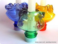 recycled plastic candle holders for the Easter table made by Alessia
