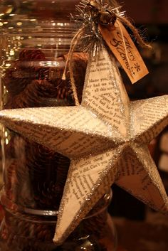 Vintage Christmas Star... would be pretty with sheet music paper.