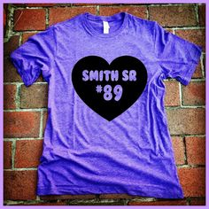 Smith Sr 89. Baltimore Ravens Football. UNISEX Purple Tri blend Tshirt hand printed in Baltimore. Wide Receiver Steve Smith