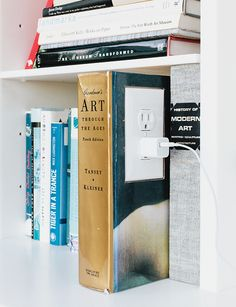 An outlet in a converted book