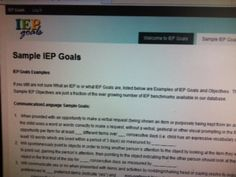 Sample IEP Goals-for Communication/Language, Cognitive/Play/Leisure, Social Skills, Academic Readiness, & Behavior. https://iepgoals.net/example-iep-goals/  Pinned by SOS Inc. Resources.  Follow all our boards at http://pinterest.com/sostherapy  for therapy resources.
