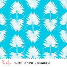 Persifor Palmetto Print in Turquoise. Bold, fun Pantone colors. Unique Prints. Palm trees. Soaking up the sun.