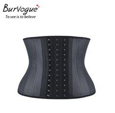 Burvogue Women Corset Black Underbust Latex Waist Corset And Bustiers Slimming 25 Steel Bone Waist Cincher Firm Control