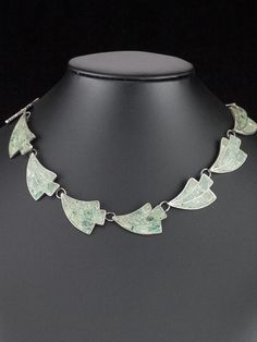 Vintage 1940's Mexican Crushed Turquoise Sterling Silver Inlay Choker Necklace