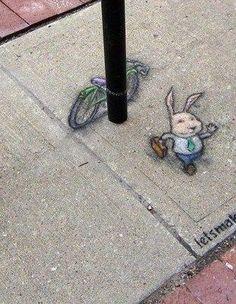 Hare: the Happy Epilogue. Fourth & Washington Parking Structure, Ann Arbor, Michigan (April 18, 2013) - street art by David Zinn