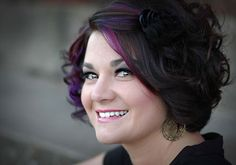 black hair purple highlights | with a black floral hair piece looks lovely the purple highlights ...