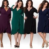 Wish   Women Sexy Loose V Neck Middle Half Sleeve Dress Plus Size Colorful Party Mini Dress