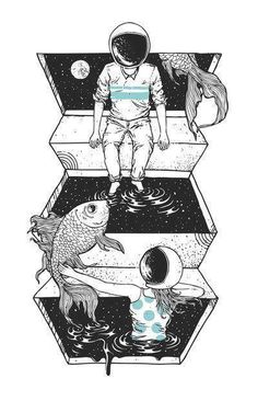 A cosmic bond of love across the universe. Space Between illustration print by Norman Duenas Art And Illustration, Illustrations Posters, Psy Art, Land Art, Oeuvre D'art, Art Inspo, Norman, Trippy, Cool Art