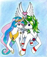 Princess Celestia and Charles - Coloured by GothicKitty3