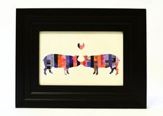 Pigs Kissing Silhouette Art Collage Recycled Paper Blue and Orange Pig Wall Art