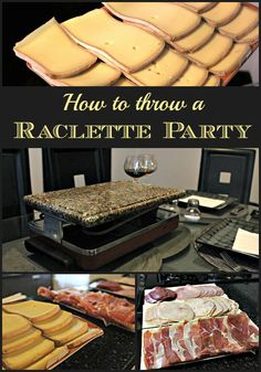 A raclette dinner party is a fun and delicious meal to prepare for friends. Here's all you need to throw a great raclette dinner party. Raclette Vegan, Raclette Fondue, Raclette Cheese, Raclette Party, Grill Party, Raclette Ideas Dinner Parties, Dinner Ideas, French Dinner Parties, Cheese Tasting