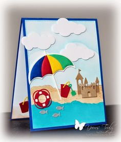 card summe Perfect Beach Day by ClassyCards - Cards and Paper Crafts at Splitcoaststampers - Impression Obsession die set - sand castle bucket lifesaver fish clouds umbrella Beach Scrapbook Layouts, Scrapbook Cards, Impression Obsession Cards, Umbrella Cards, Nautical Cards, Beach Cards, Cricut Cards, Summer Crafts, Card Tags