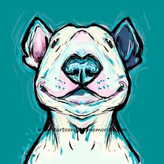 Bull Terrier Art Such a cute art print! I need this for my room.