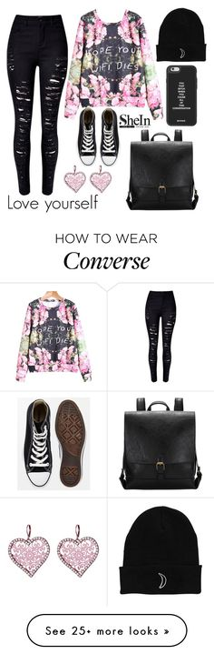 """""""Love Yourself"""" by fashionkat20 on Polyvore featuring Converse, Betsey Johnson, women's clothing, women, female, woman, misses and juniors"""