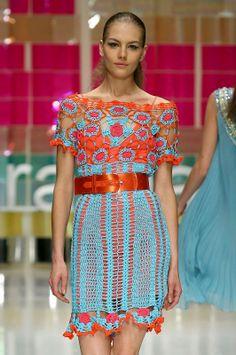 Outstanding Crochet: Laura Biagiotti. SS 2006. Crochet dress.