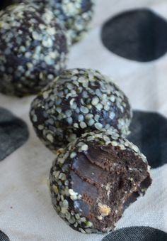 Hemp Protein Truffles by Running on Real Food: Rich and decadent, yet good for you! Makes a healthy snack or dessert. Easy to make.  SO GOOD