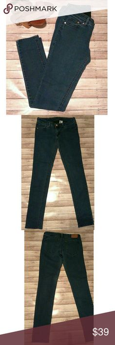 H&M Super Skinny Super Low Waist Denim Absolutely gorgeous and flattering skinny jeans. Or jeggings or the perfect hybrid of both. By H&M. Dark blue color. Tag size 29 waist 32 inseam. Approx measurements are 14 Waist and 31 Length. 44% Cotton, 30% Lyocell, 24% Polyester and 2% Elastane. Does have stretch! H&M Jeans Skinny