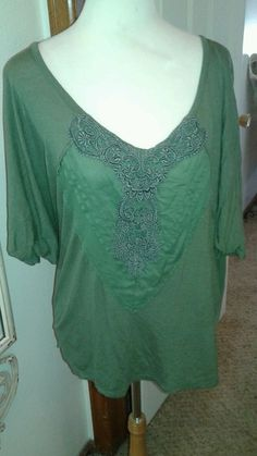 Free People Knit top  Asparagus Green SZ L Dolman Sleeves  Embellished bodice  #FreePeople #KnitTop #Casual