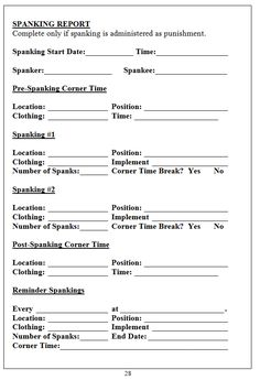 "blushingbelonging:  "" I'm uploading a spanking report sheet which can be found in the ""Discipline Diary"", a book that is used to keep track of a person's punishments and behavior. Feel free to print and use this sheet, or simply purchase the entire..."
