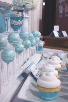 Blue and white dessert bar, could be cute for a Recruitment party.