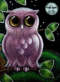 Art: FANTASY PINK OWL SLEEPING MOON by Artist Cyra R. Cancel