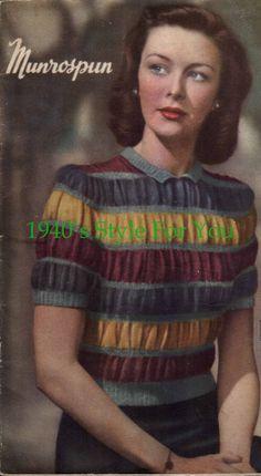 PDF Knitting Pattern for a Beautiful Stripe Jumper - Wartime Sweater Beginner Knitting Patterns, Sweater Knitting Patterns, Crochet Humor, Crochet Food, Vintage Knitting, Vintage Crochet, 1940s Fashion, Vintage Fashion, Vintage Sweaters