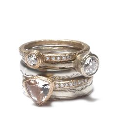 Diana Porter rose and white gold rings, set with diamonds and trillion cut morganite.   http://www.dianaporter.co.uk/section.php/91/2/diamonds_and_semi_precious_stones