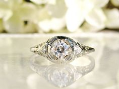 Art Deco Engagement Ring Old European Cut by LadyRoseVintageJewel