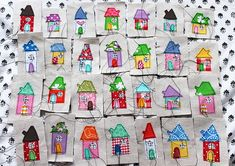 I just love those little houses! Together they would make a nice pillow!  Made by Kajsa at syko.typepad.com