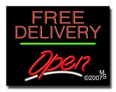 """Free Delivery Open Neon Sign - Script Text - 24""""x31""""-ANS1500-0618-3g  31"""" Wide x 24"""" Tall x 3"""" Deep  Sign is mounted on an unbreakable black or clear Lexan backing  Top and bottom protective sides  110 volt U.L. listed transformer fits into a standard outlet  Hanging hardware & chain included  6' Power cord with standard transformer  Includes 2nd transformer for independent OPEN section control  For indoor use only  1 Year Warranty on electrical components."""
