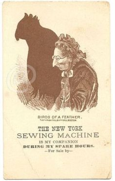 New York Sewing Machine Victorian Trade Card s Onondaga NY Woman Bird Silhouette
