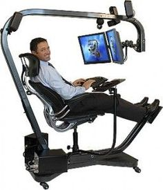 my dream desk for work!Get Rid Of Computer Sickness -Ergonomics & Comfort At Work - How To Re-design Your Workstation - Low Sitting Desk Computer Workstation, Computer Setup, Gaming Computer, Gaming Chair, Computer Gadgets, Gaming Setup, Computer Station, Gaming Station, Ergonomic Computer Chair