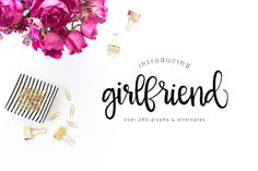 Girlfriend is a lovely script font with tons of options! 3 files that include ending letters, alternate glyph combos and more! Commercial use OK! Please do not re-distribute (selling or sharing)