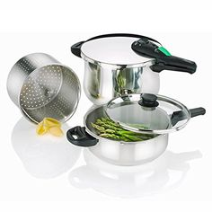 Encapsulated Aluminum Pressure Cooker Set with Triple Safety Mechanism ** Find out more details by clicking the image : Pressure Cookers