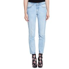 Alexander Mcqueen Bleached Denim Skinny Jeans ($459) ❤ liked on Polyvore featuring jeans, light denim, skinny leg jeans, blue jeans, cropped jeans, denim skinny jeans and skinny fit jeans