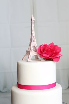 Baby Pink Paris Eiffel Tower Cake Topper by OverTheTopCakeTopper